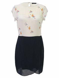 Bird print fitted tulip dress £48