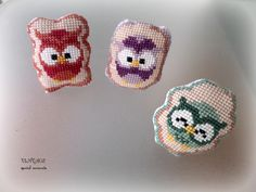 Hand embroidered Cute Owl Cross stitch Brooch. Cross stich Owl. Idea for Gift, Party Favor, Christening Bomboniere. by Vintagespecialmoment on Etsy