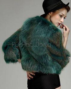 fur bolero jackets | Green Fox Fur Bolero Jacket - 3/4 Sleeve