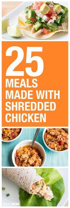 25 meals to make with shredded chicken! Because i LOVE shredded chicken Healthy Chicken Recipes, Clean Recipes, Organic Recipes, Crockpot Recipes, Vegetarian Recipes, Cooking Recipes, Chicken Meals, Rotisserie Chicken, Healthy Shredded Chicken Recipes