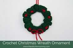 Get into the holiday spirit with this adorable and super easy Crochet Christmas Wreath Ornament!
