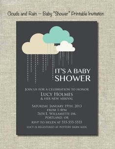 Baby Shower rain and clouds Printable by PrintablePartiesInc