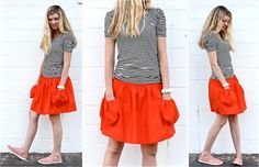 Simple skirt with elasticated waist and deep pockets.