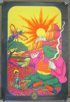 Original Vtg 1970 Black Light Petagno TIME OUT IN TIME Poster Psychedelic Drug