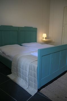 Bedroom, old recycled bed, floating bedside table, relax, holiday, Italy, Le Marche.