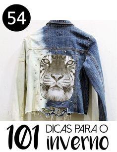 # 54 - JAQUETA JEANS CUSTOMIZADA -101 ideias de faça você mesmo para o inverno - Inspiração para customização de jaqueta jeans