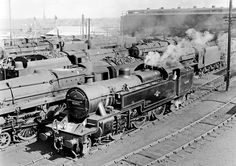A very full Patricroft shed yard in 8/65, Fowler 2-6-4T 42343 in the foreground with Black 5's 44715, 44913 and Caprotti Standard 5 73159 identifiable amongst the masses.