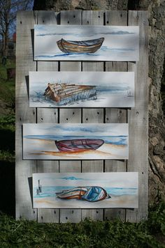 Aquarell ein Tag am Strand Wandschmuck Malerei
