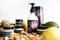 Cactus Skincare organic range photographed with the raw ingredients used in the products.
