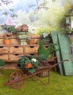 Miniatur Gemüse Maßstab 1/12, Garten Schubkarre In Rostigen Metall, Zubehör  Werkzeug