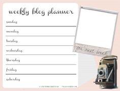 Free Weekly Blog Planner . Blog Better - Shrimp Salad Circus