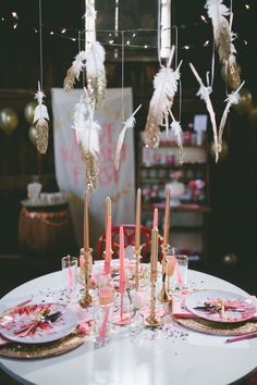 party table, valentine's day, gold dipped feathers // styling: Belovely Inc., photo: Krista Leigh Hurst