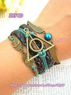 SALE Harry potter bracelet owl bracelet retro copper angel wings bracelet owls bracelet green bead bracelet multilayer bracelet B17