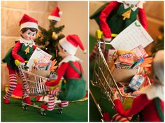Elf on the Shelf Ideas. It's not all fun and games... Just like us, elves have responsibilities which include grocery shopping. They have a lot of upcoming Christmas cooking to do, and they can't forget cookies for Santa and carrots for the reindeer. To view more pins like this one, search for Pinterest user amywelsh18.