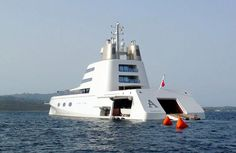 """Nearly 400' long Giga yacht """"A"""" owned by Russian billionaire, Andrey Melnichenko."""