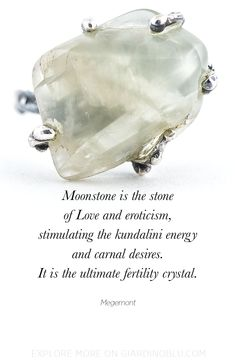 Moonstone stone meaning and properties | how to wear crystals to manifest Love and stimulate the kundalini energy, carnal desire and fertility | Megemont quote about Moonstone Crystal