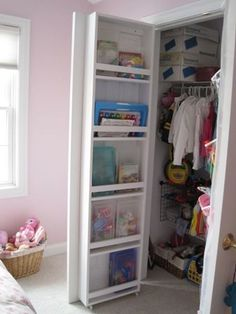 behind closet door storage.  DIY to add a few extra feet of space to the  inside of closet doors.