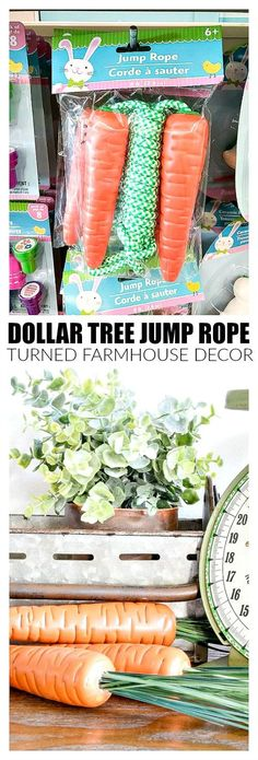 Turn Dollar Tree jump ropes into realistic carrots, perfect for Easter and spring decor! #dollartree #springdecor #easter