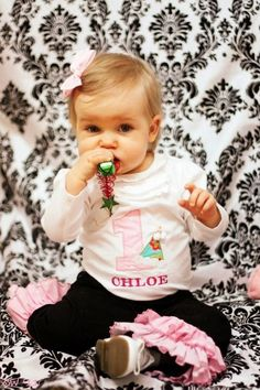 """First Birthday outfit - like her name on the shirt - maybe get shirt or dress embroidered with a """"1"""""""