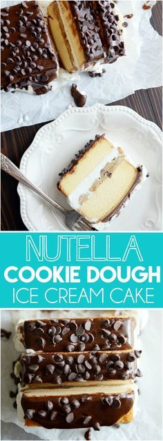 Layers of butter pound cake, vanilla ice cream, chocolate chip cookie dough and Nutella. This dessert comes together in a cinch!