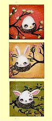 animal easter eggs (the poppy tree) Tags: pink flowers original white flower tree rabbit bunny bird art chicken animal animals yellow painting easter print spring nest buttercup mixedmedia branches egg chick fawn lilly tulip albino whimsical thepoppytree