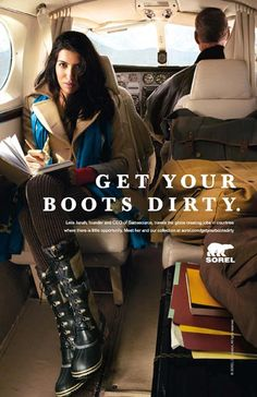 Leila Janah Is The First Woman Who Appears In Get Your Boots Dirty Campaign By Sorel Short Words A Job Creator Via Web Technology