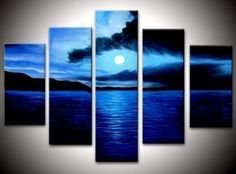 Rising Moon frem Sea at Night Abstract Wall Canvas Art Sets Painting for Home Decoration 100% Hand Painted Oil Painting Mo... by artworka