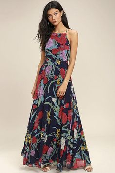 The A Dream Realized Navy Blue Floral Print Maxi Dress will be there for all the definitive moments! A woven poly floral print maxi dress with an apron neckline. Good Woman, Blue High Low Dress, Floral Print Maxi Dress, Floral Dresses, Western Dresses, Online Dress Shopping, Dress Skirt, Tulip Skirt, Amazing Women