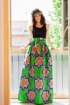 Long skirt rolled with high-end. Back zipper pockets on the side. There if Moda African Print Dresses, African Print Fashion, African Wear, African Dress, Kente Dress, Dress Skirt, Kimono Fashion, Fashion Outfits, Fashion Clothes