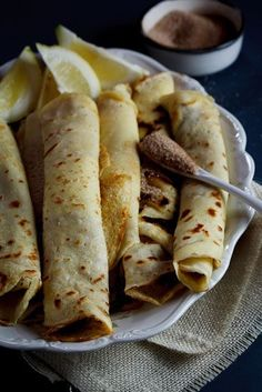 A South-African favourite, Pancakes (crepes) with cinnamon-sugar. The ultimate comfort food. Breakfast Desayunos, Breakfast Dishes, Breakfast Recipes, Dessert Recipes, Great Recipes, Favorite Recipes, South African Recipes, Pancakes And Waffles, Swedish Pancakes