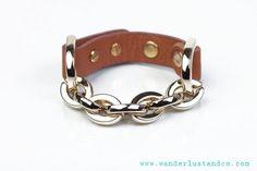 Wanderlust + Co XL D-Link Gold & Tan Leahter Bracelet