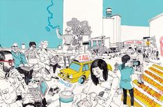I am really loving this guys work. Reminds me of one of my favorite illustrators, Olivier Kugler