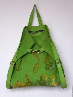 льняной рюкзак, вощёный лён, осенние листья, стильный городской яркий рюкзак