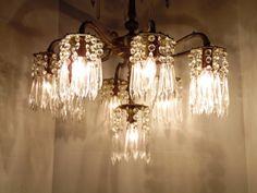 Elegant Prism Chandelier 8 Arm 9 Lights Made In Spain 104 Crystal Prisms 1950's