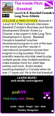 #COLLEGE #PODCAST  The Inside Pitch - Baseball Coach Podcast    Level I & II: Baseball Canada?s Long Term Athletic Development program for coaches and players    LISTEN...  http://podDVR.COM/?c=157cec1c-b7b2-4946-5c6c-2044616bc217