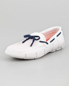 Lace-Up Mesh/Rubber Loafer, White/Navy by Swims at Neiman Marcus.
