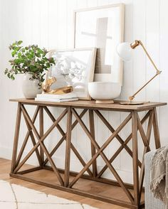 console table with decor