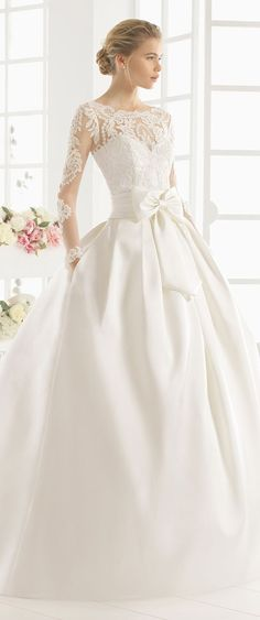 Aire Barcelona Long Sleeve Wedding Dresses With Pocket A Line Lace Beaded Jewel Court Train Bow Elegant Plus Size Bridal Gowns Wedding Robe, Lace Wedding Dress, 2016 Wedding Dresses, Long Sleeve Wedding, Wedding Attire, Bridal Dresses, Wedding Gowns, Wedding Cakes, Dresses 2016