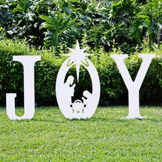 Classic white, silhouette style Joy Yard Sign with Holy Family