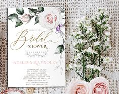Bridal shower invitation printable or printed, elegant gold bridal shower invitation, modern bridal shower invitation