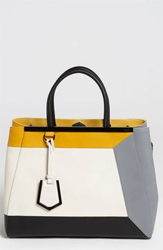 Do they have this with purple or turquoise accents? Fendi '2Jours 3D - Medium' Leather Shopper available at #Nordstrom
