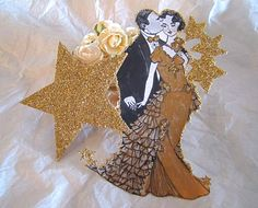 Art Deco Wedding Cake Topper - 1930s Bride And Groom With Glistening Gold Stars
