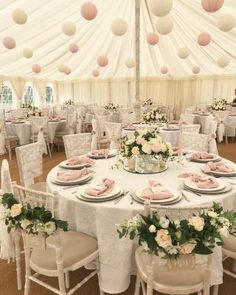 Summer Marquee Wedding Styling – ( SHOP THIS LOOK ) Pink, White & Wood. Paper la… Summer Marquee Wedding Styling – (SHOP THIS LOOK) Pink, White & Wood. Paper lanterns hanging from ceiling, wooden Mr Mrs chair signs, so pretty for summer weddings. Summer Wedding Decorations, Wedding Lanterns, Marquee Wedding, Wedding Themes, Wedding Events, Wedding Styles, Summer Weddings, Wedding Favours, Destination Weddings