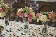 MAIDS BOUQUETS Candle Box, Centerpieces, Table Decorations, Queen Annes Lace, Seed Pods, Canning Jars, Maids, Pretty In Pink, Tulips