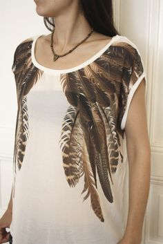 Native American feather tshirt/top by bazaaristanbul