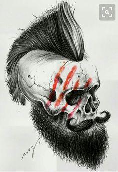 Skull p Beard Skull Tattoos, Cool Tattoos, Panzer Tattoo, Koch Tattoo, Tattoo Caveira, Totenkopf Tattoos, Skull Artwork, Desenho Tattoo, Tatoo Art