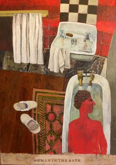 'Woman in the Bath' by British artist Simon Quadrat (b.1946). Oil on canvas, 40 x 28 in. via Panter & Hall