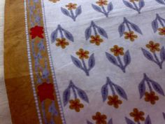 block print fabricIndian Fabric White Blue Brown Cotton Block Print One by RaajMa