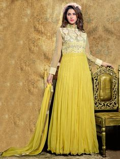 Buy Yellow Soft Net Anarkali Suit With Embroidery Work Online in USA, UK - Saree.com