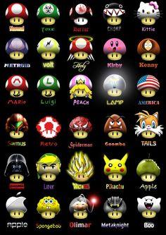 mario brother | tipos de champiñones de Mario Bros